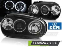 Predné CCFL Angel Eyes svetlá VW Golf 4 Black