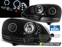 Predné CCFL Angel Eyes svetlá VW Golf 5 Black