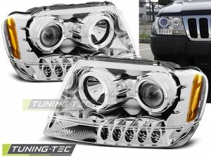 Predné svetlá Jeep Grand Cherokee 99-05 Angel Eyes Chrome
