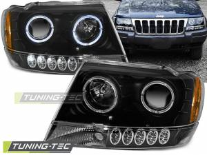 Predné svetlá Jeep Grand Cherokee 99-05 Angel Eyes Black