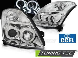 Predné svetlá Suzuki Swift 05-10 CCFL Angel Eyes Chrome