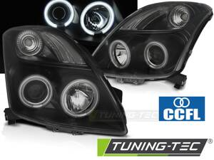 Predné svetlá Suzuki Swift 05-10 CCFL Angel Eyes Black